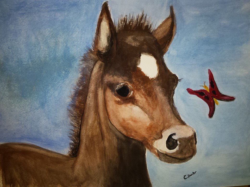 The Foal, watercolor